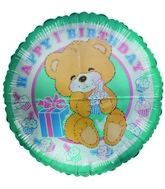 "36"" Happy 1st Year Bear Cub Cupcakes Blue Jumbo Balloon"