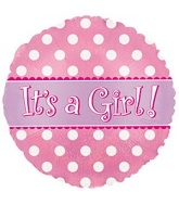 "17"" It's a Girl Holographic Dots Mylar Balloon Packaged"