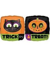 "18"" Square Trick Or Treat Cat & Pumpkin"