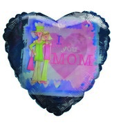 "18"" Daughter Mother I love You Mom Blue & Pink Heart"