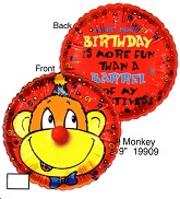 "9"" Airfill Only Lil' Fuzzies Birthday Monkey balloon"