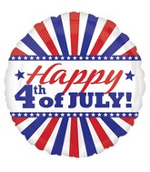 "18"" Happy 4th of july Stripes Balloon"