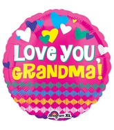 "18"" Love You Grandma Hearts Balloon"