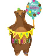 "38"" Birthday Bear with Banner Balloon"