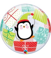 "22"" Bubble Balloon Penguins and Presents"