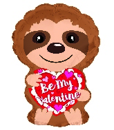 "10"" Airfill Only Be My Valentine Sloth Heart Foil Balloon"