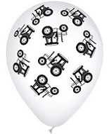 "12"" White and Black Tractors Latex Balloon Print  50 Count"