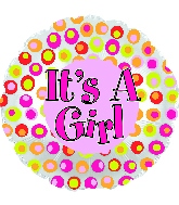 "17"" It's A Girl Colorful Dots Foil Balloon"