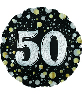 "17"" Number 50 Silver Sparkles Foil Balloon"