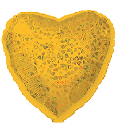 "18"" Gold Heart Pattern Dazzleloon Balloon"