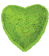 "18"" Lime Heart Pattern Dazzleloon Balloon"