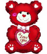 "20"" I Love You Red & White Teddy Foil Balloon"