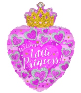 "24"" Baby Girl Heart With Crown Foil Balloon"