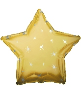 "18"" Antique Gold Sparkle Star Foil Balloon"