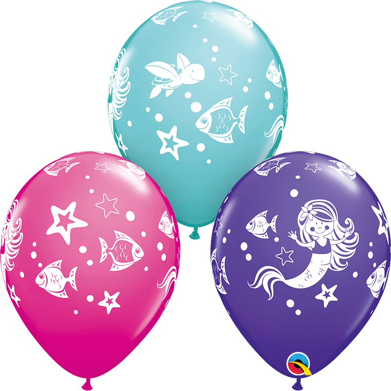 "11"" Merry Mermaid & Friends Color 50 Count Latex Balloons:"