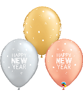 "11"" New Year Sparkles Dots Latex Balloons (50 Per bag)"