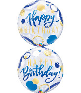 "22"" Birthday Blue & Gold Dots Bubble Balloon"