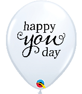 "11"" Simply Happy You Day White Latex Balloons"