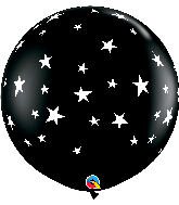 "36"" Contempo Stars-A-Round Onyx Black Latex Balloons"