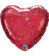 "18"" Glittergraphic Red Heart Foil Balloon"