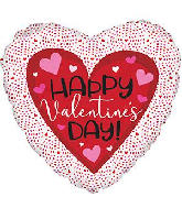 "18"" Happy Valentine's Day Tiny Hearts Foil Balloon"