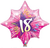 "28"" 18th Birthday  Pink Shinning Star Balloon"