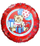 "9""  Airfill Ted Stuffins Happy Birthday Balloon"