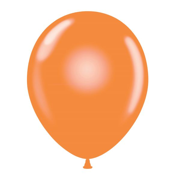 "24"" Round Orange Latex Balloons 5 Count"