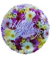 "9"" Airfill Happy Birthday Flowers Pink Balloon"