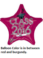 "18"" Class of 2016 - Red/Burgundy Balloon"
