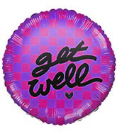 Get Well Checkered Pink Airfill Mylar Balloon