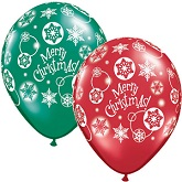 "11""  Christmas! Snowflakes Assorted Latex  (50 Count)"