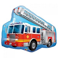 "36"" Red Fire Truck Jumbo Mylar Balloon"