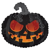 "22"" Scary Black Pumpkin Balloon"