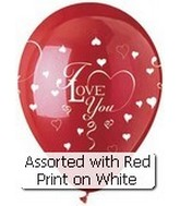 "12"" Red and White I Love You  Hearts Latex  6 CT"
