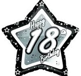 "18"" Happy 18th Black & Silver Star Slightly Damaged Print"