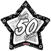 "18"" Happy 50th Birthday Black"