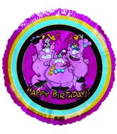 "9""  Airfill Happy Birthday Pigs pink Balloon"
