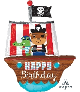 "34"" Jumbo Happy Birthday Pirate Ship Balloon"