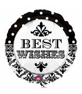 "18"" Damask & Dots Best Wishes Mylar Balloon"