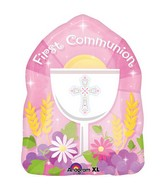 "18"" Blessed 1st Communion Pink SuperShape"
