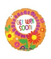 "21"" ColorBlast Bright Floral Get Well Balloon Packaged"