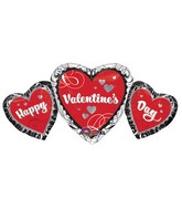 "34"" SuperShape Happy Valentines Day Heart Trio Balloon"