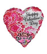 "29"" Singing Happy Valentines Day Sweet Paisley Packaged"