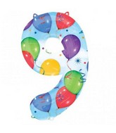 "34"" SuperShape 9 Balloons & Streamers Balloon Packaged"