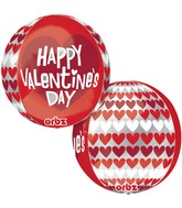 "16"" Orbz Happy Valentines Day Red & White Packaged"