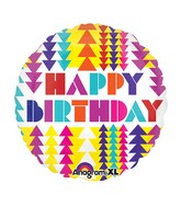 "21"" HBD Geometric Color Blast Mylar Balloon"