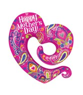 "31"" Happy Mother's Day Swirly Open Heart Balloon Packaged"