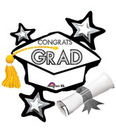"31"" SuperShape Congrats Grad White Cluster Balloon"