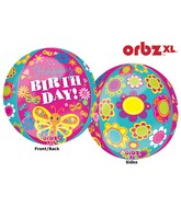 "16"" Orbz Happy Birthday Cute Butterfly Balloon Packaged"